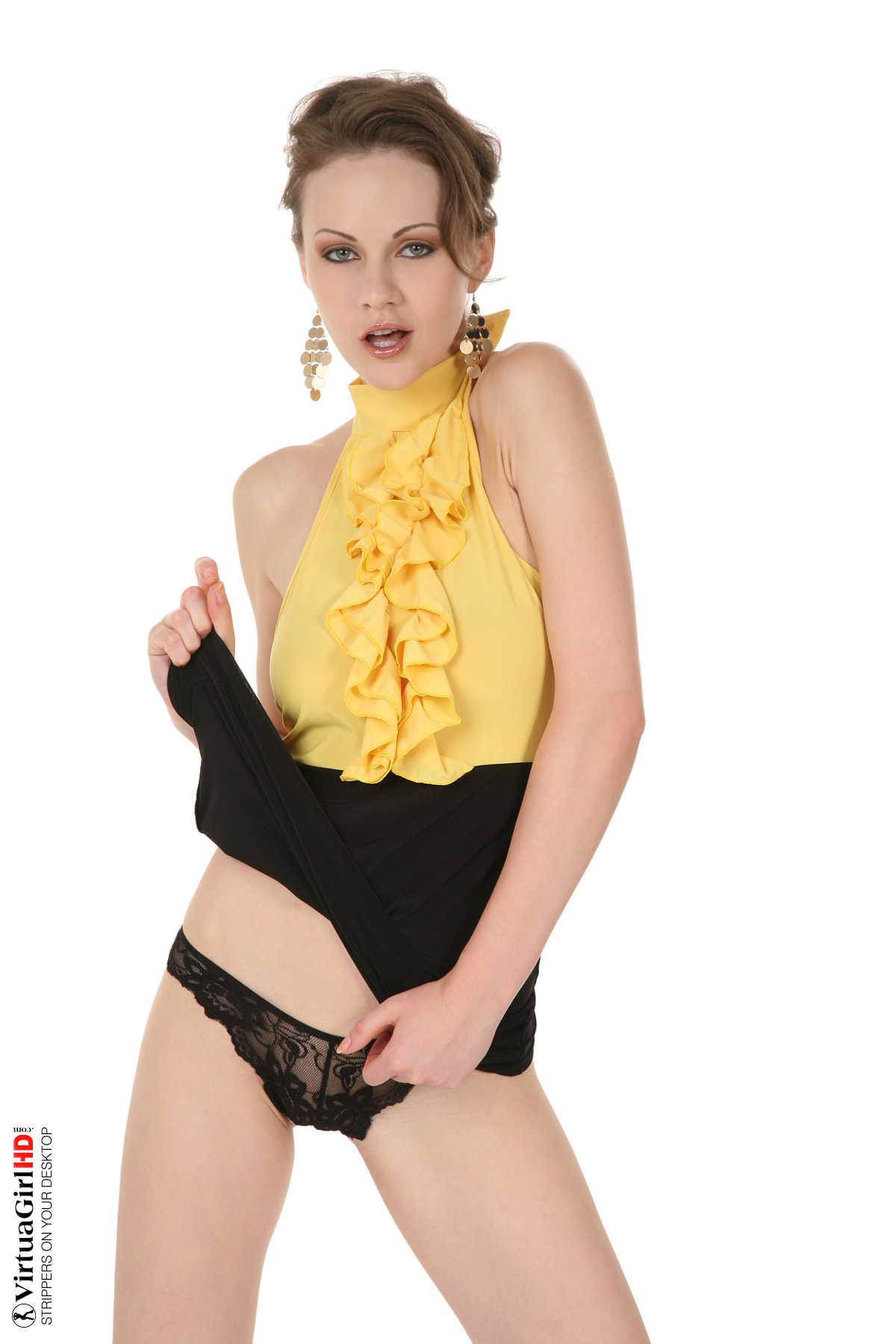 sexy blonde british girl striptease in yellow lingerie